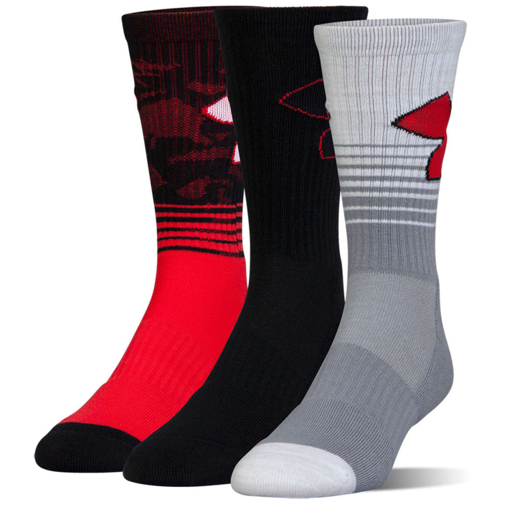 UNDER ARMOUR Men's Phenom 2.0 Crew Socks, 3 Pack - RED ASST 962