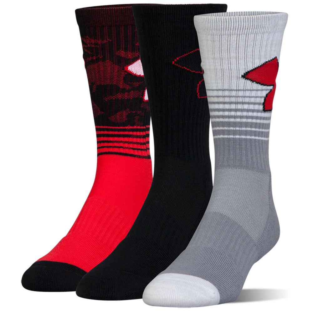 UNDER ARMOUR Men's Phenom 2.0 Crew Socks, 3 Pack - RED ASST 962