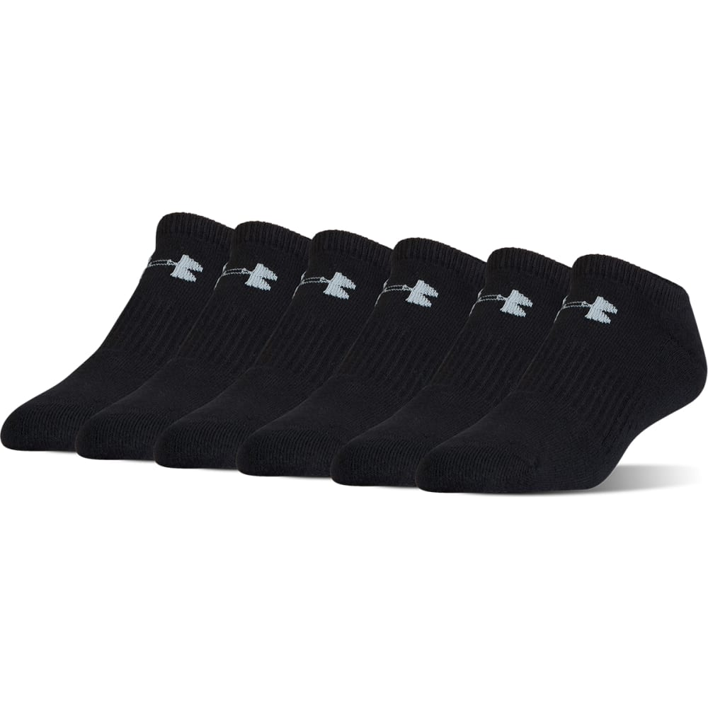 UNDER ARMOUR Boys' Charged Cotton No Show Socks, 6 Pack - BLACK