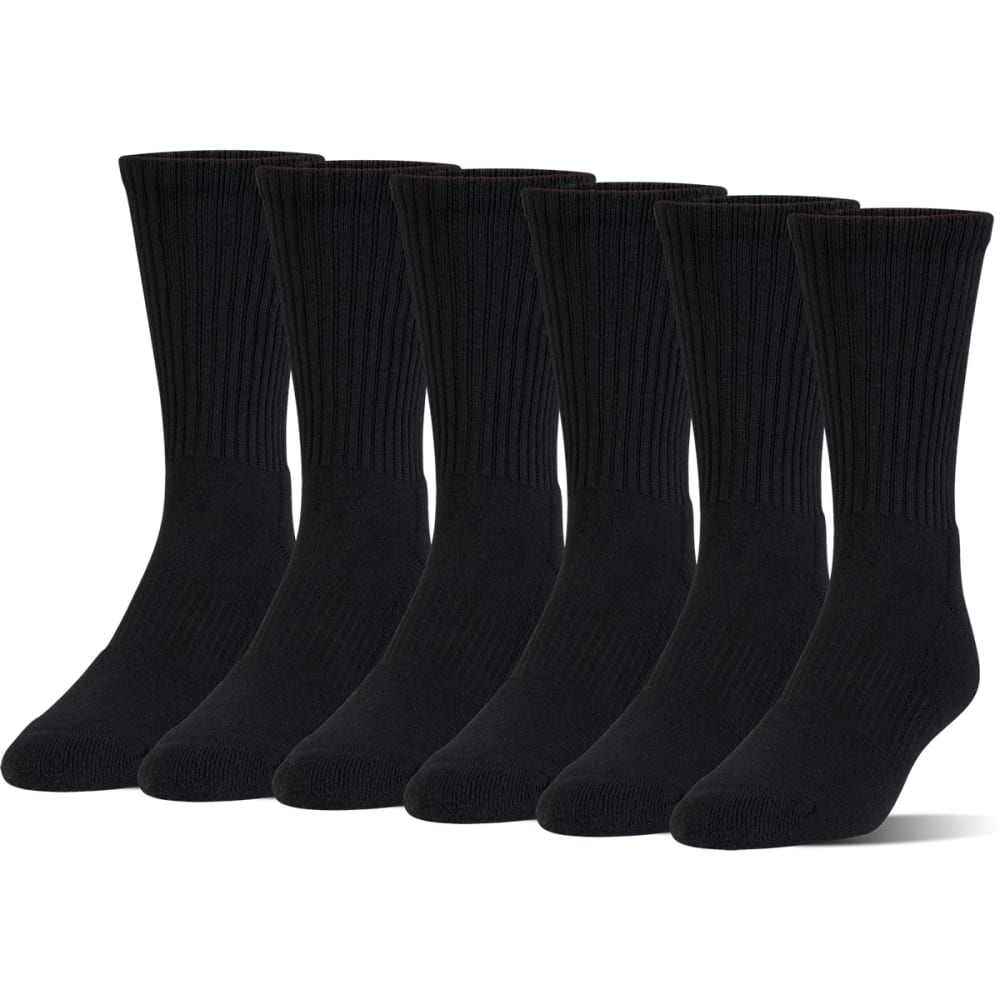 UNDER ARMOUR Boys' Charged Cotton Crew Socks, 6 Pack - BLACK