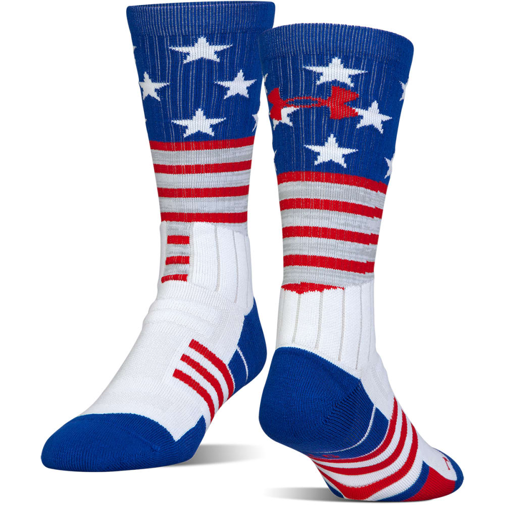 UNDER ARMOUR Boys' Unrivaled Stars and Stripes Crew Socks - WHITE 170