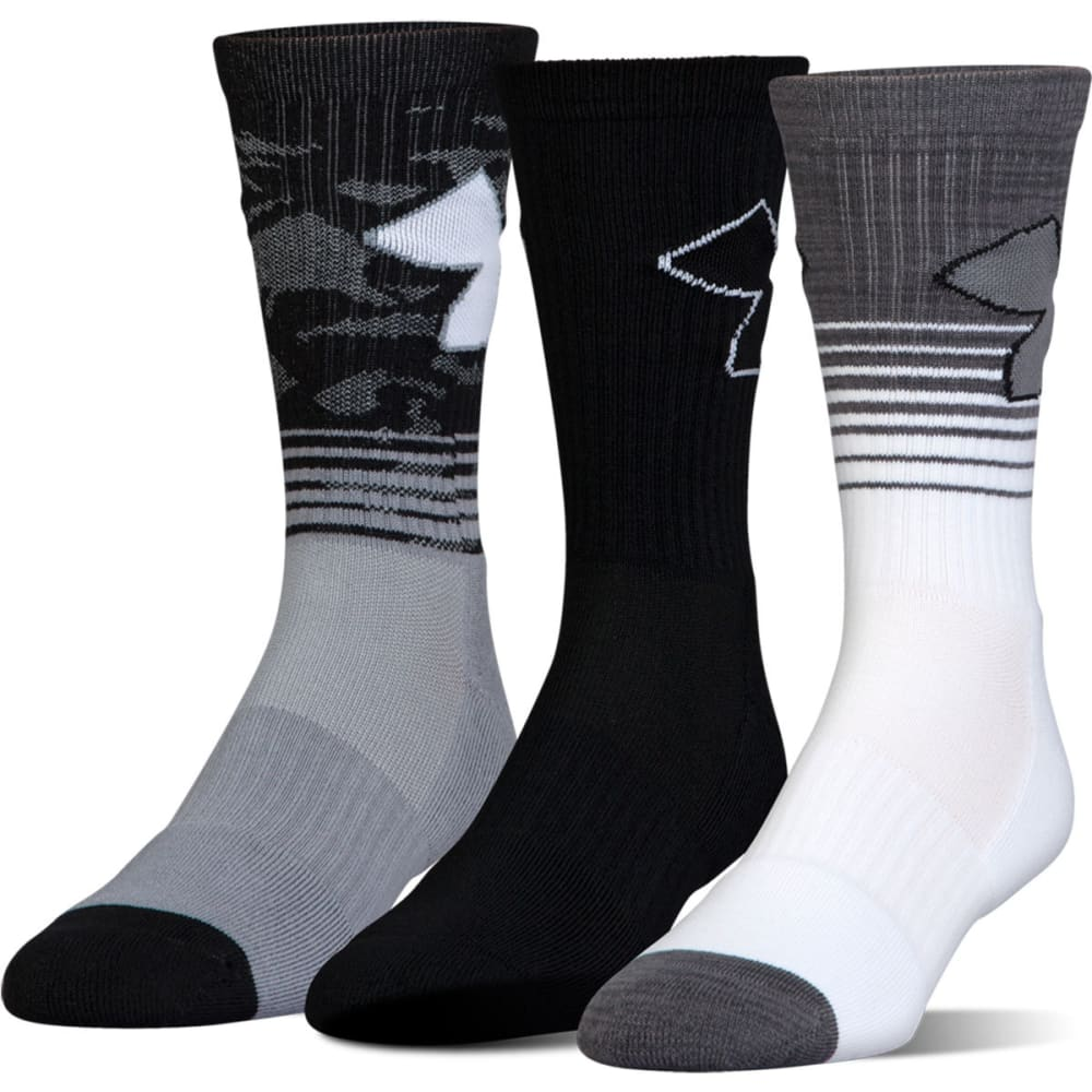 UNDER ARMOUR Boys' Phenom 2.0 Crew Socks - steel grey asst 960