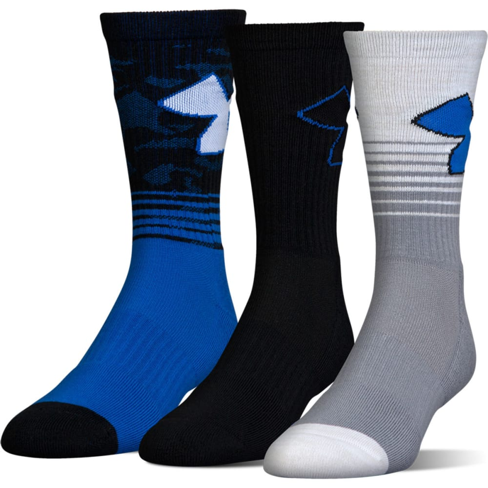 UNDER ARMOUR Boys' Phenom 2.0 Crew Socks - marker blue asst 961