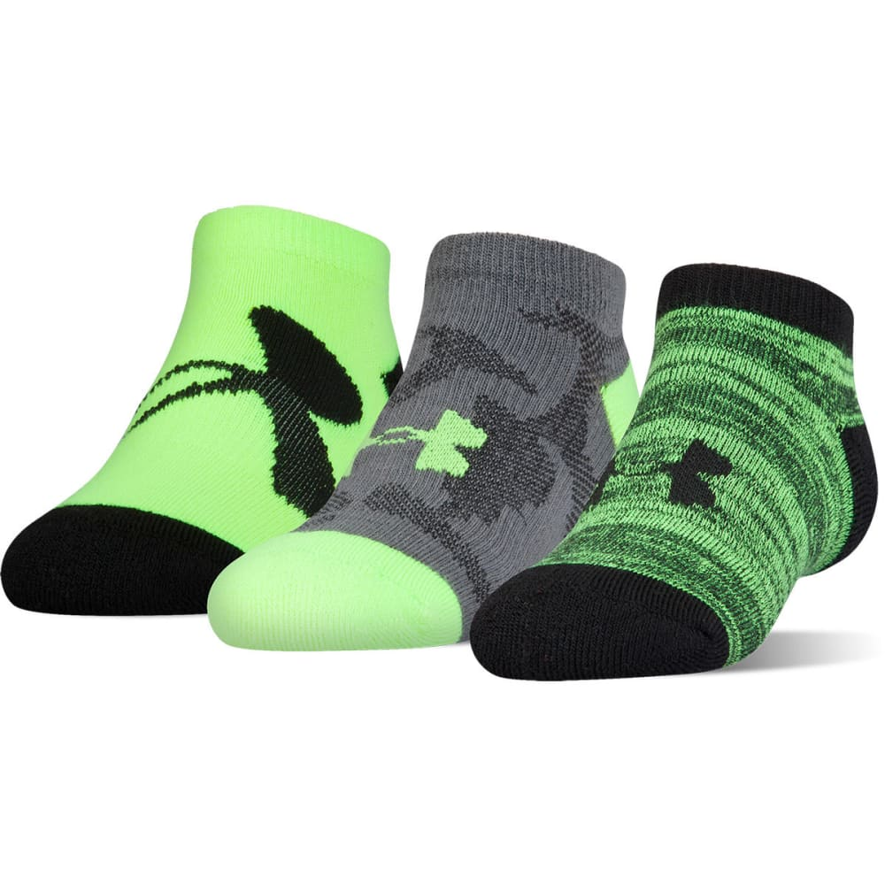 UNDER ARMOUR Boys' Next Statement No show Socks, 3 Pack - FUEL GREEN ASST 962