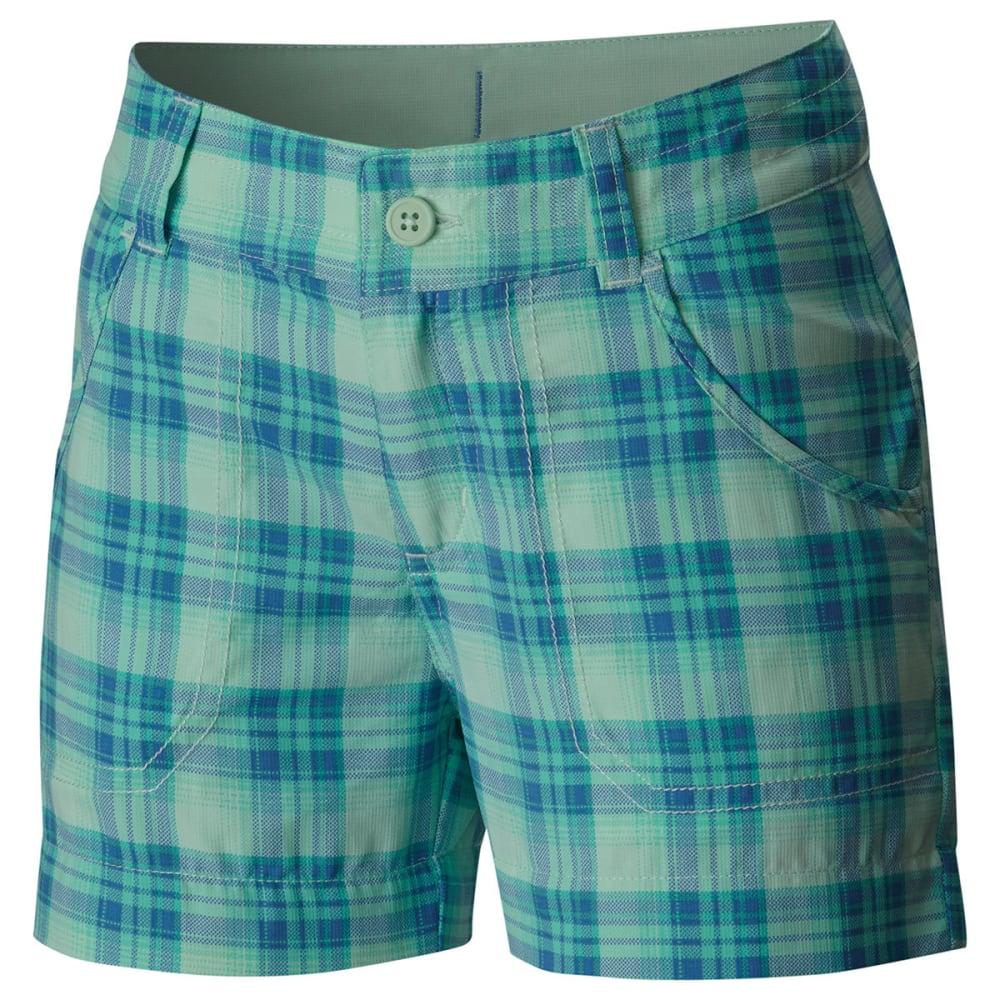 Columbia Girls' Silver Ridge Printed Shorts - Green, L
