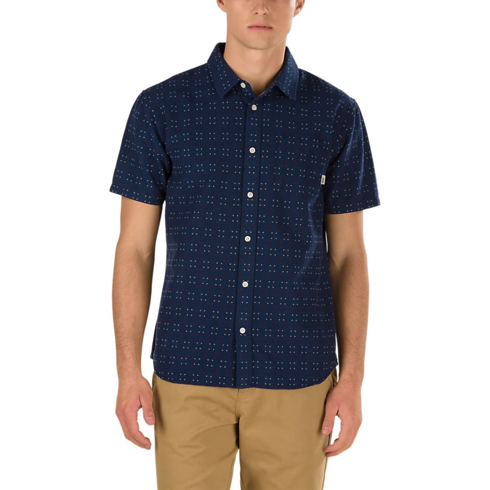VANS Guys' Speer Woven Short-Sleeve Shirt - DRESS BLUE