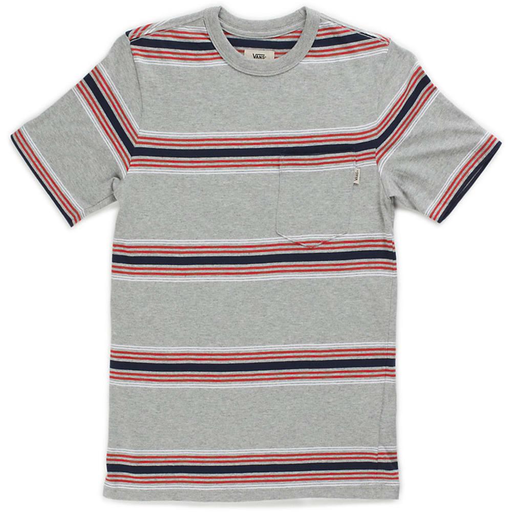 VANS Guys' Causeway Striped Knit Short-Sleeve Tee - CEMENT HTR