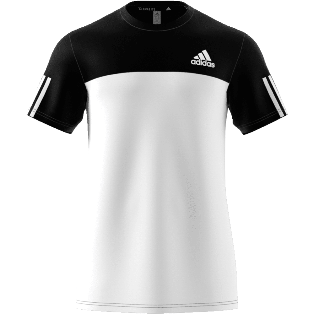 ADIDAS Men's Essential Tech Color-Block Crew Short-Sleeve Shirt - BLK/WHT-BJ9018
