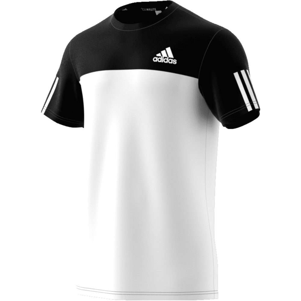ADIDAS Men's Essential Tech Color-Block Crew Short-Sleeve Shirt - BLK/WHT-BJ9018