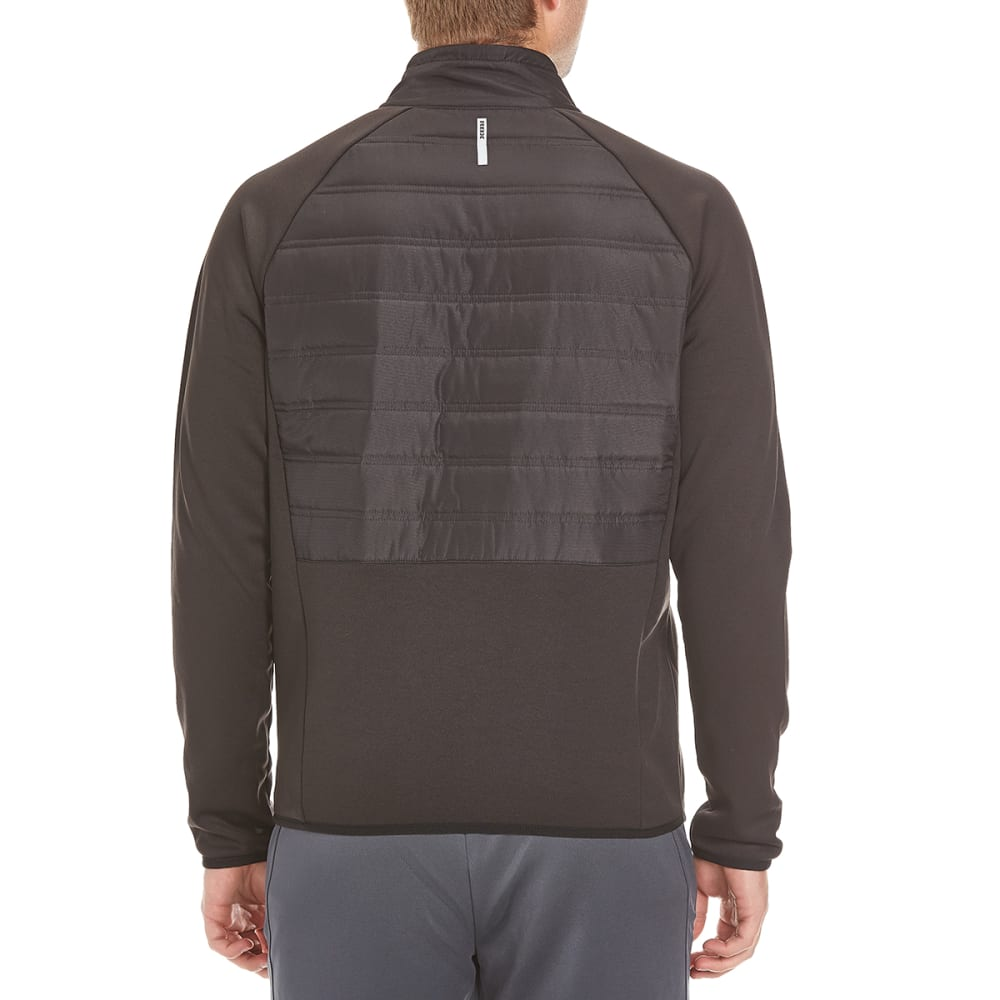 RBX Men's Woven Poly Tech Quilted Fleece Jacket - BLACK