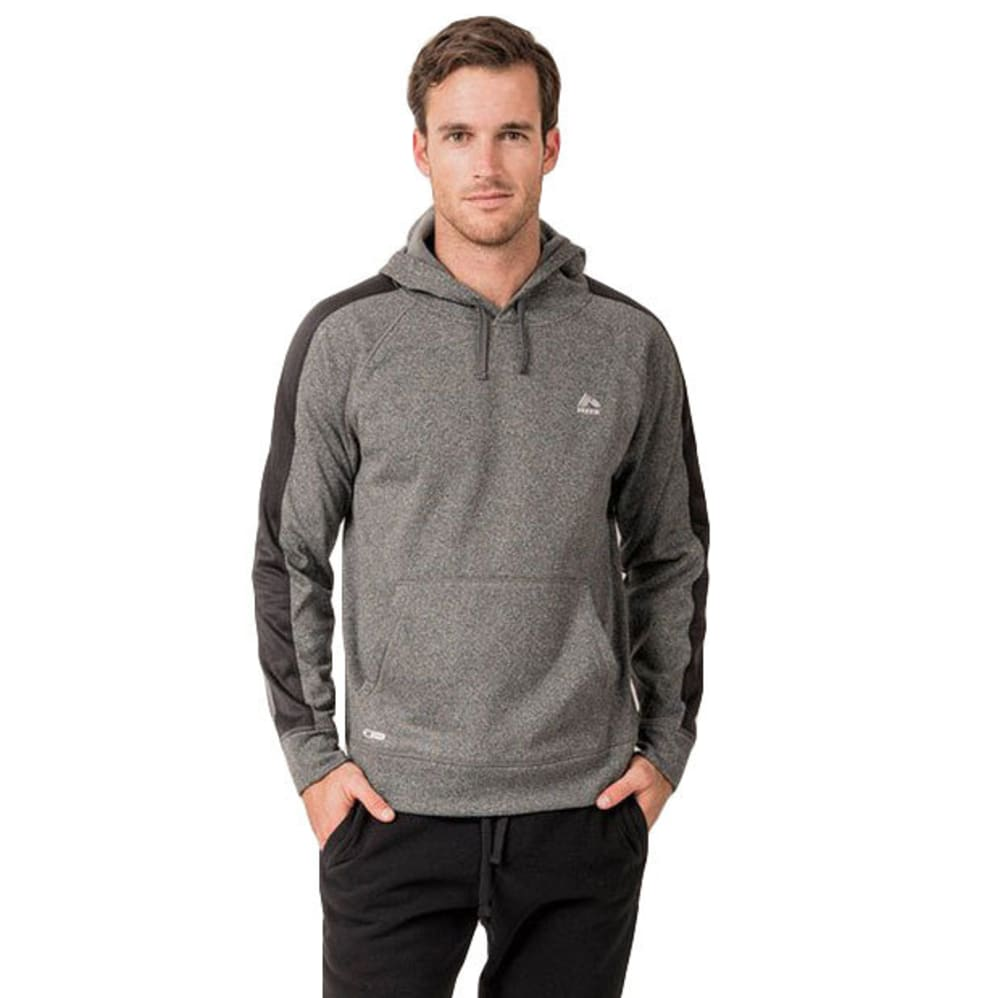 RBX Men's Stripe Tech Fleece Pullover Hoodie - CHARCOAL GREY HTHR