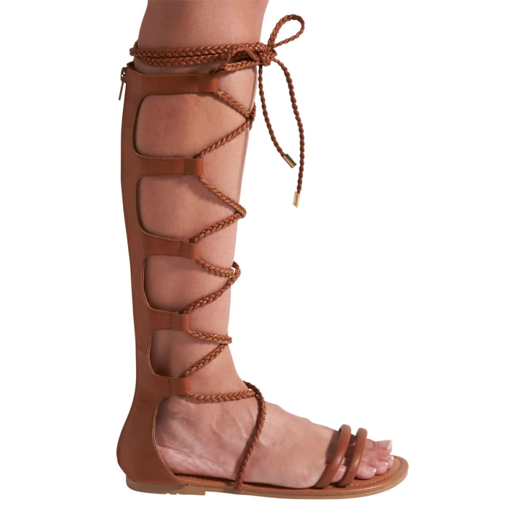 WILD DIVA Women's Leann-148 Tall Gladiator Sandals - WHISKEY