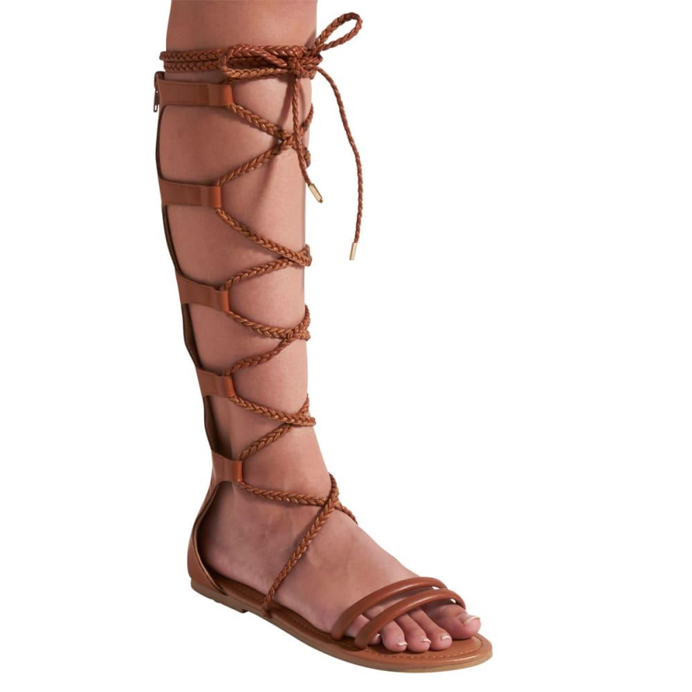 WILD DIVA Women's Leann-148 Tall Gladiator Sandals - WHISKEY