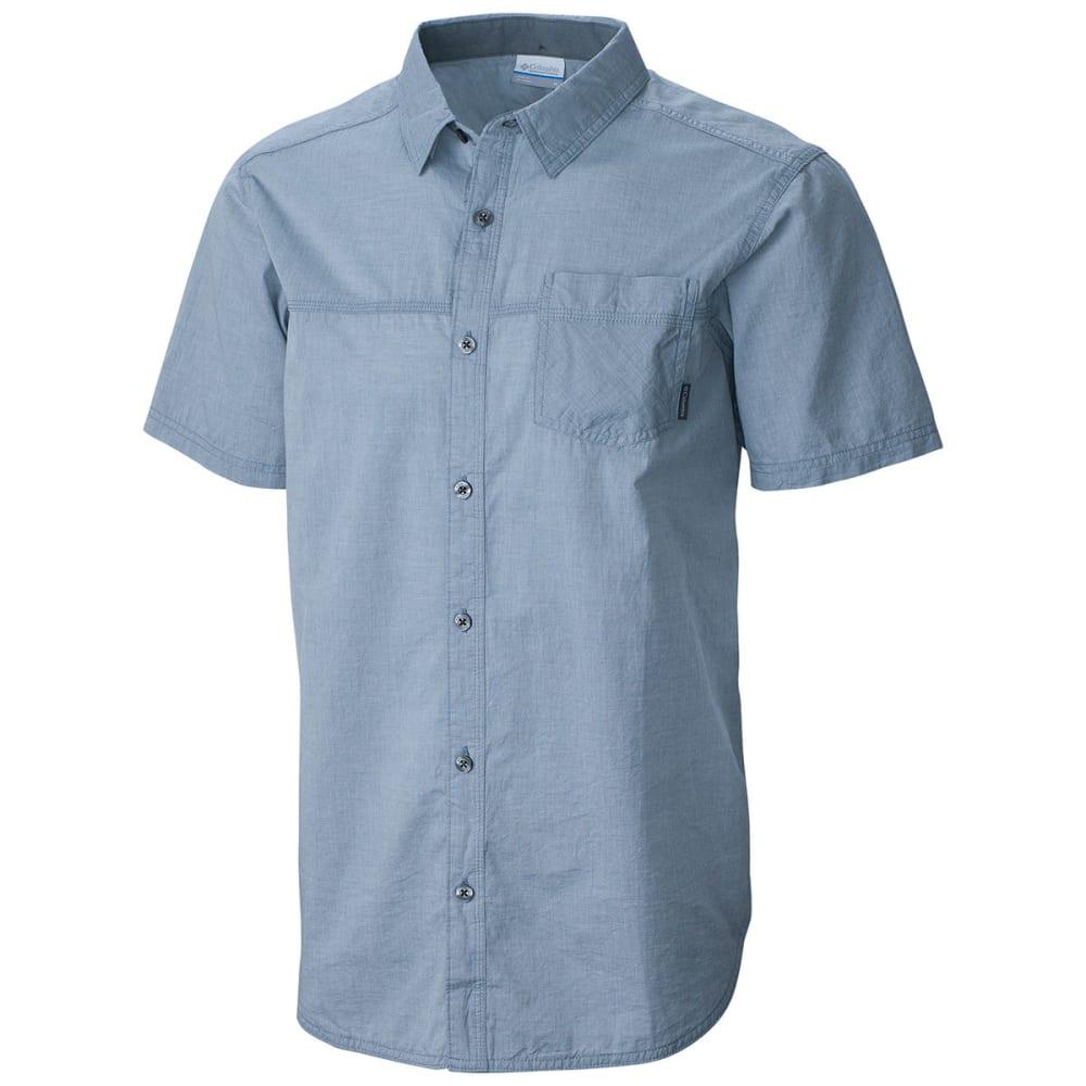 COLUMBIA Men's Campside Crest Chambray Short-Sleeve Shirt - GREY ASH-021