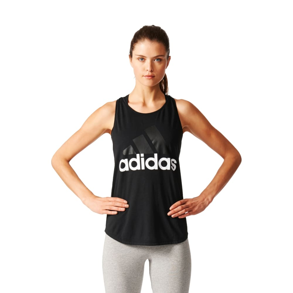 ADIDAS Women's Essentials Linear Loose Tank Top - BLK/WHT-B45743