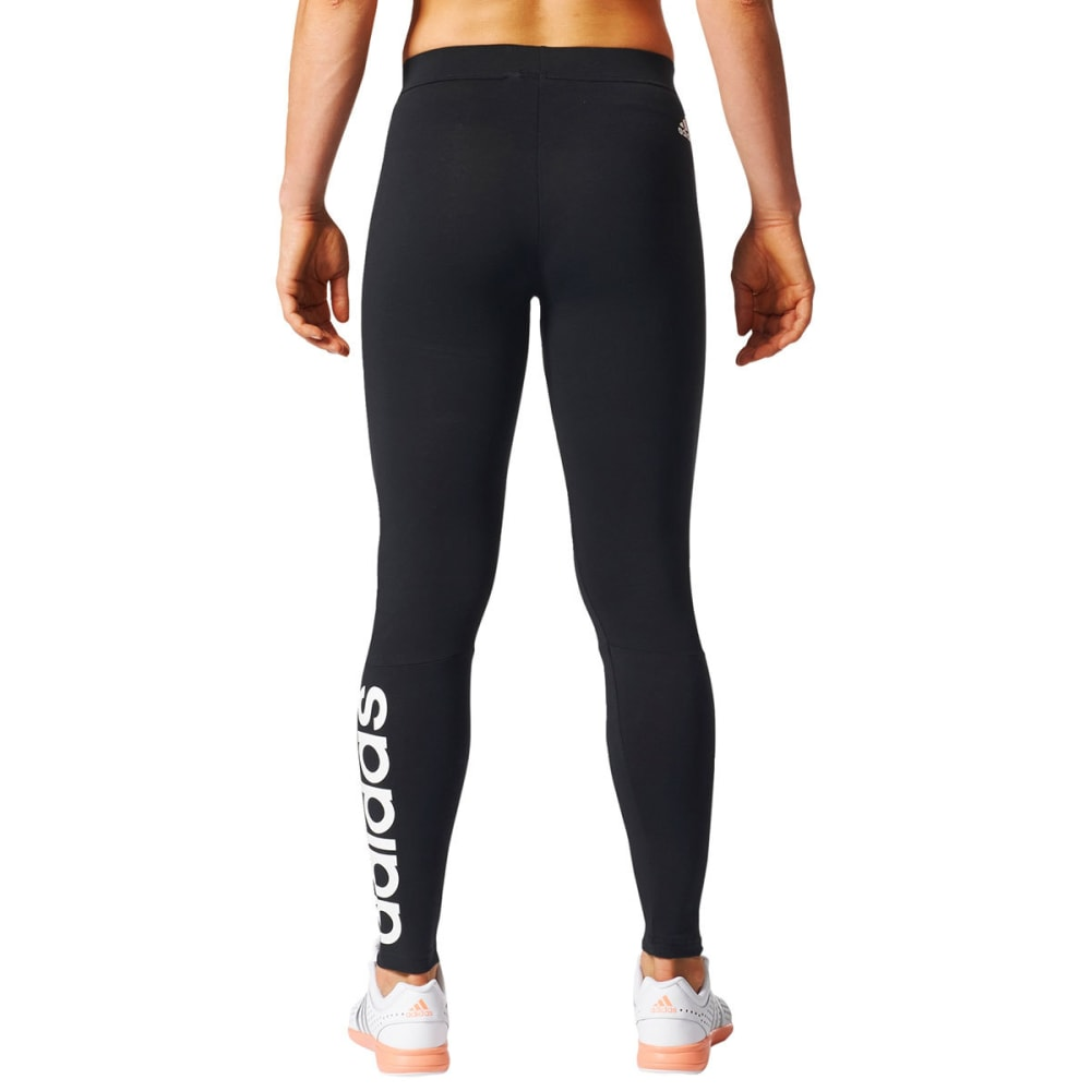 ADIDAS Women's Essentials Linear Logo Leggings - BLK/WHT-S97155