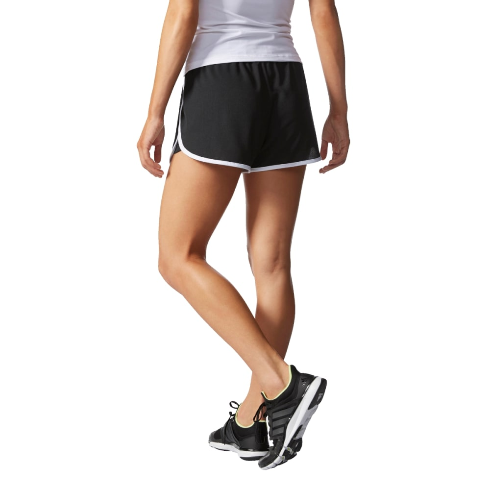 ADIDAS Women's 100M Dash Knit Shorts - BLK/WHT/SLV-AI3010