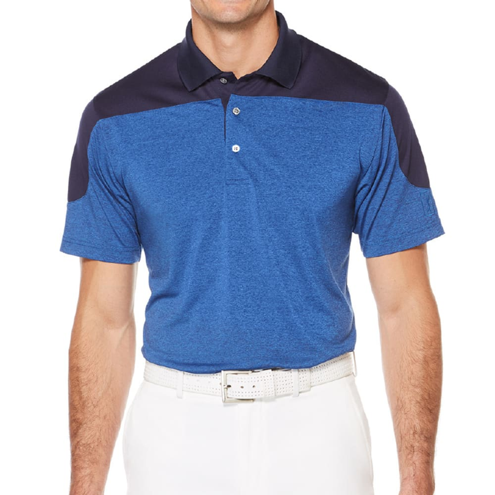PGA TOUR Men's DriFlux Heather Color-Block Short-Sleeve Polo Shirt - OLYMPIAN/GRY HTR-440