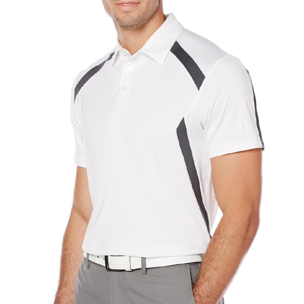PGA TOUR Men's Motionflux 360 Color-Block Short-Sleeve Polo Shirt - WHITE-100