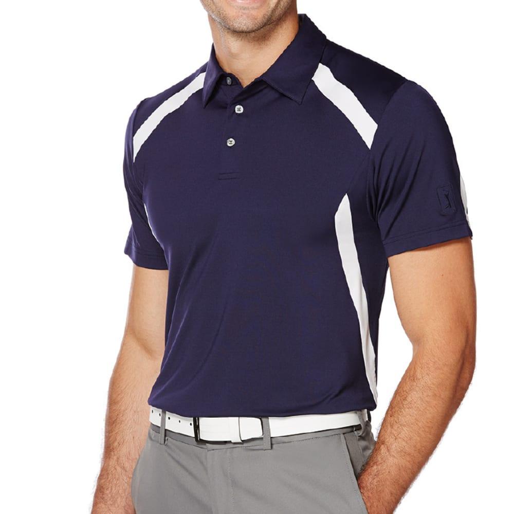 PGA TOUR Men's Motionflux 360 Color-Block Short-Sleeve Polo Shirt - EVENING BLU/WHT-471