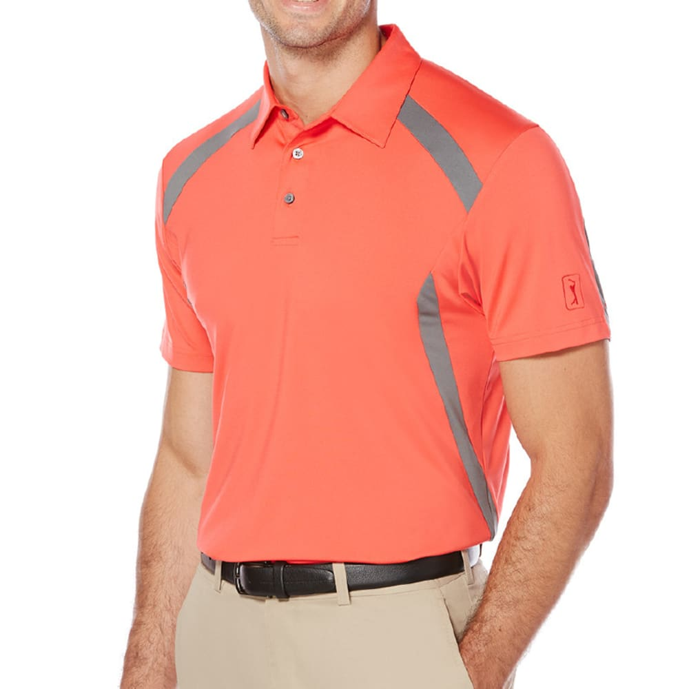 PGA TOUR Men's Motionflux 360 Color-Block Short-Sleeve Polo Shirt - BITTERSWEET/GRY-623