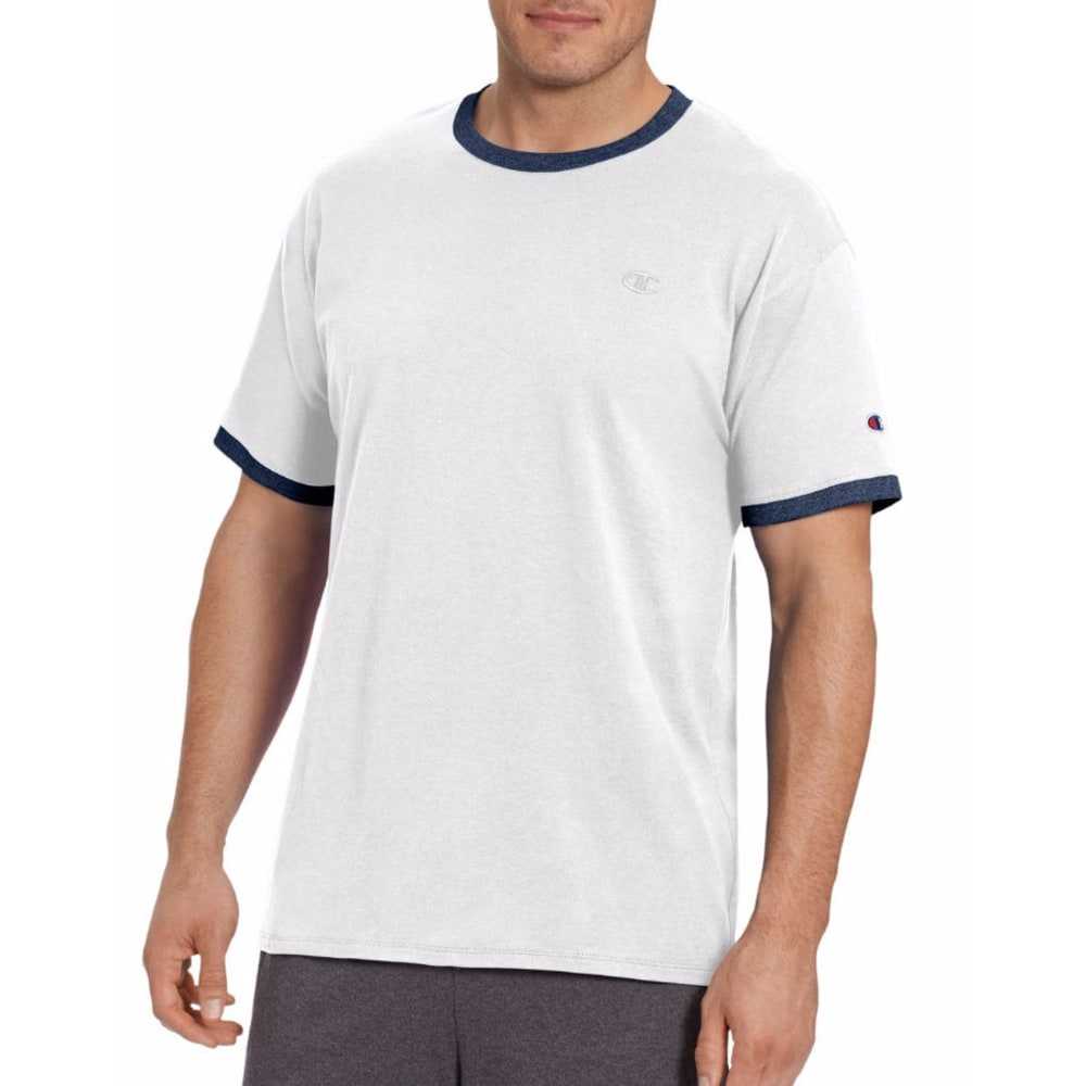 CHAMPION Men's Classic Jersey Ringer Short-Sleeve Tee - WHITE/NAVY-081
