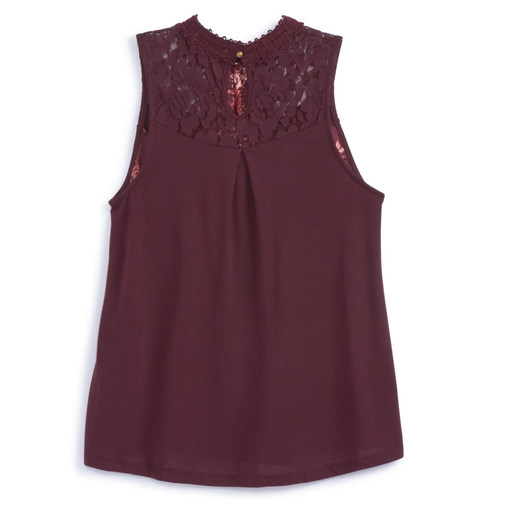 TAYLOR & SAGE Juniors' Printed High-Neck Lace Inset Tank Top - ELP-ELDERBERRY PLUM