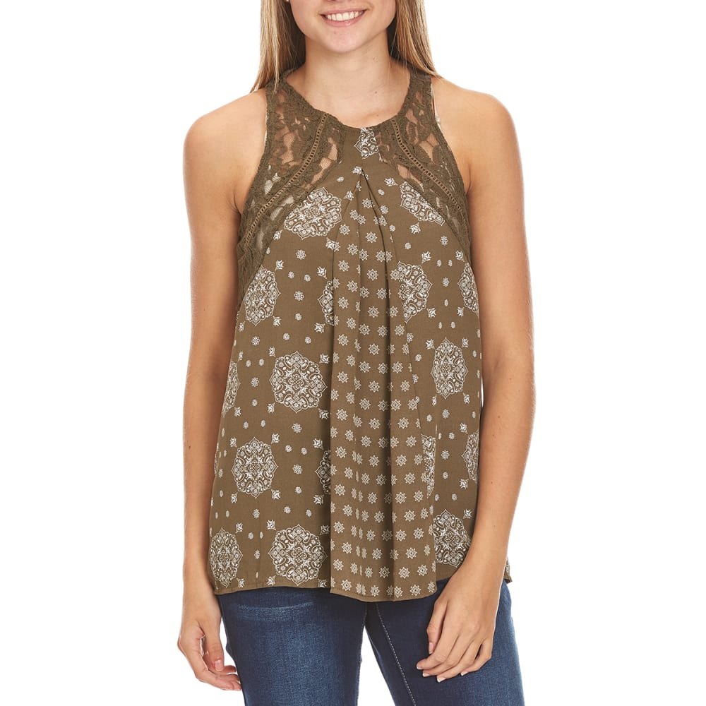 TAYLOR & SAGE Juniors' Mix Print High Neck Tank - TED-TEAK DRAB OLIVE
