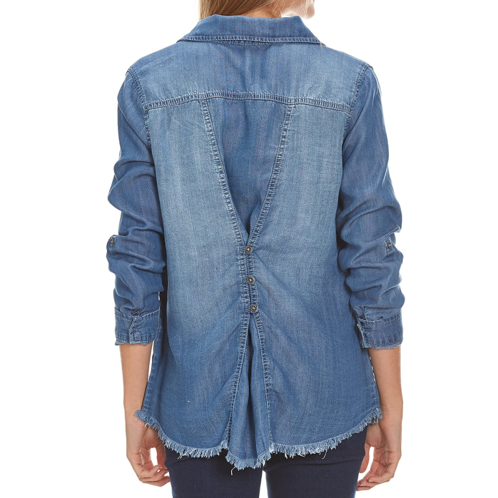 TAYLOR & SAGE Juniors' Denim Raw Edge Button-Back Shirt - IND-INDIGO