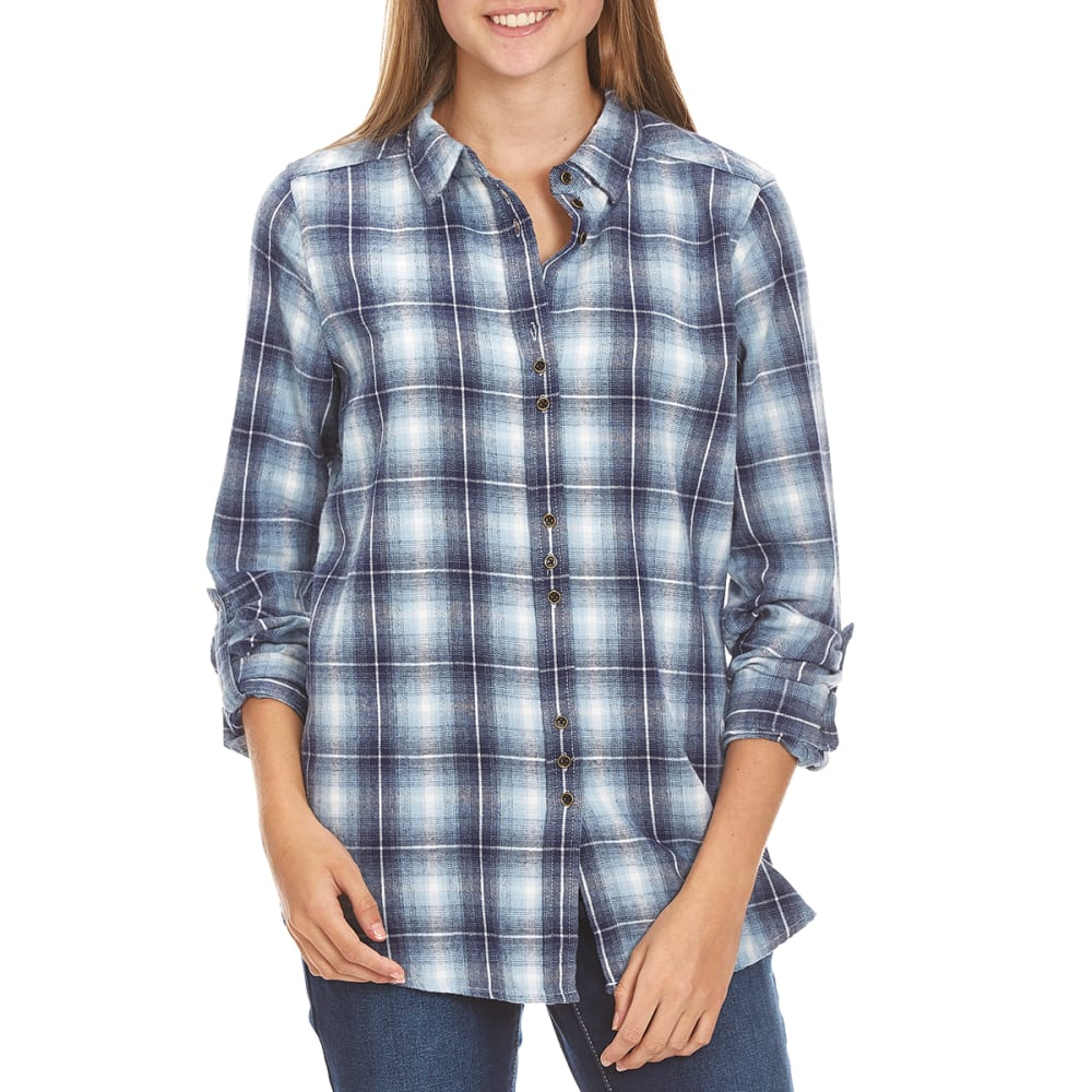 TAYLOR & SAGE Juniors' Plaid Button Back With Lace Inset Shirt - NAV-NAVY