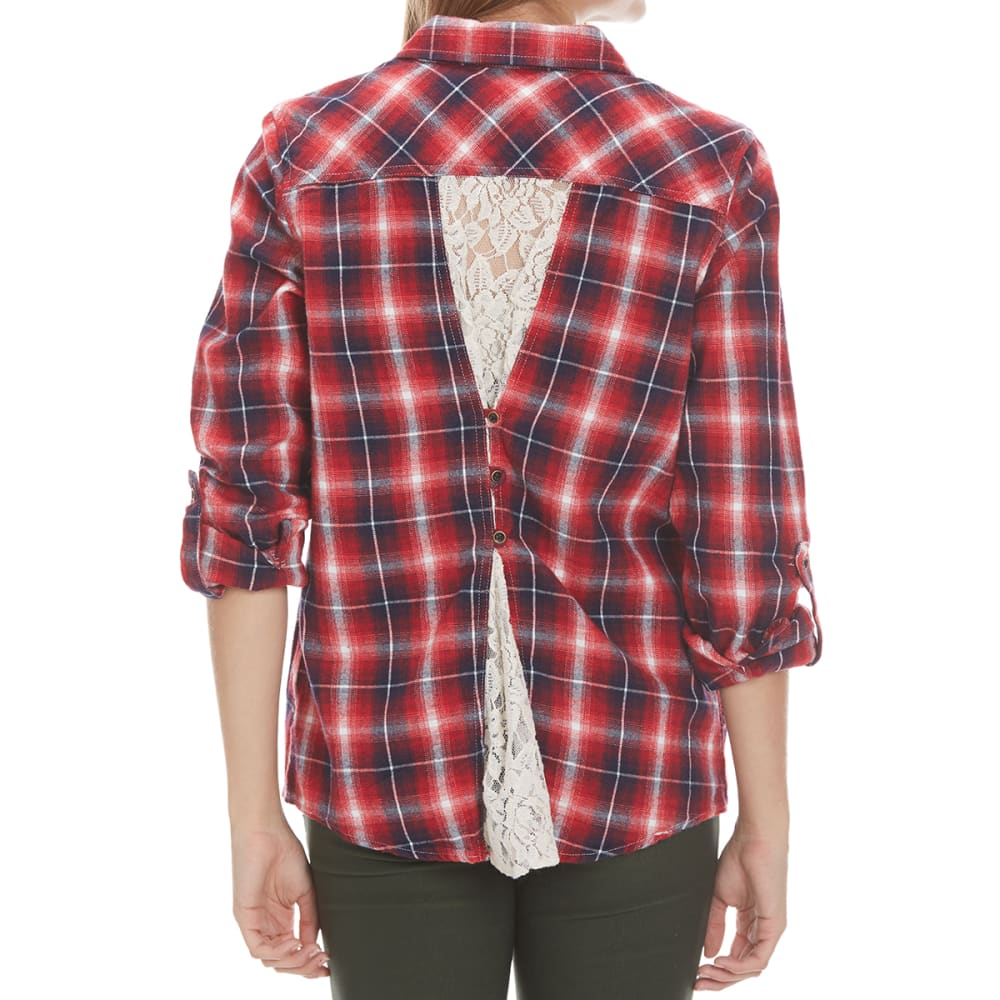 TAYLOR & SAGE Juniors' Plaid Button Back With Lace Inset Shirt - RED-RED