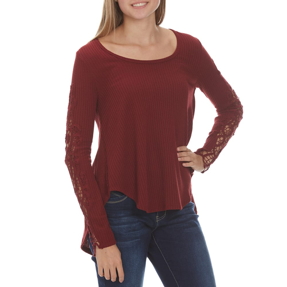 TAYLOR & SAGE Juniors' Mega Thermal With Crochet Sleeve Shirt - RIW-RICH WINE