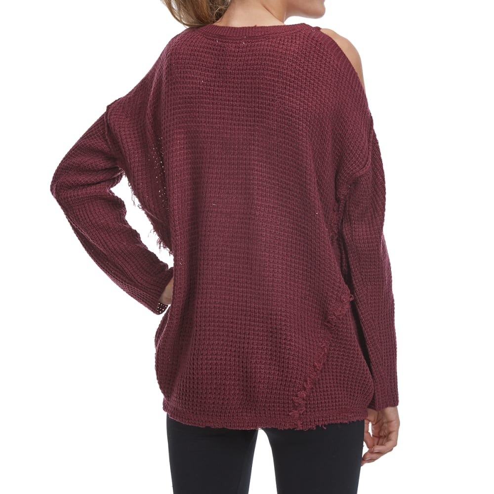 TAYLOR & SAGE Juniors' Cold-Shoulder Sweater - MUL-MULBERRY
