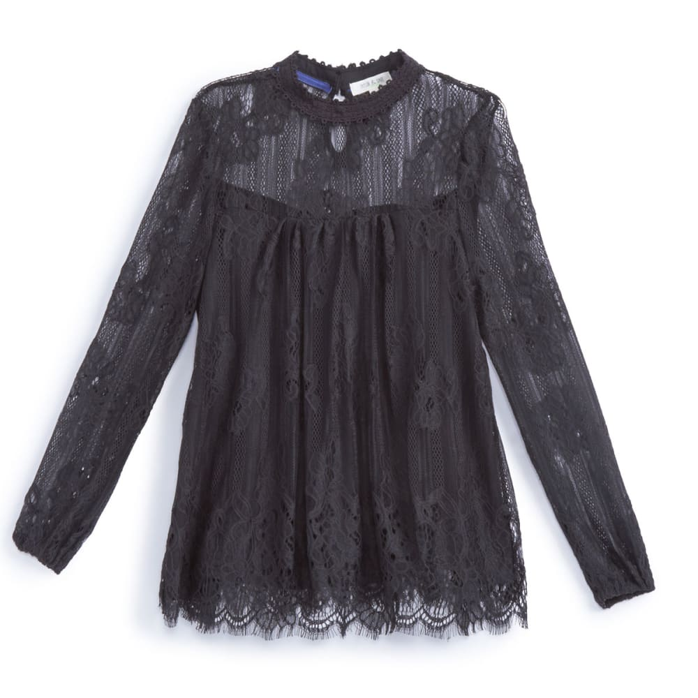 TAYLOR & SAGE Juniors' All-Over Lace High-Neck Blouse with Scalloped Hem - TAR-TAR