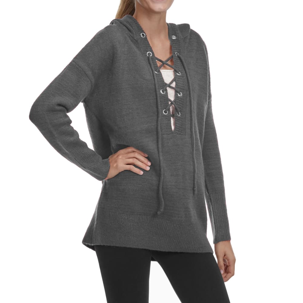 TAYLOR & SAGE Juniors' Lace-Up Pullover Hoodie - CHR-CHARCOAL