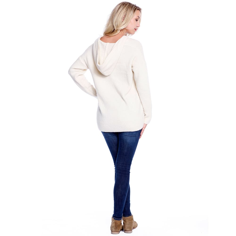 TAYLOR & SAGE Juniors' Lace-Up Pullover Hoodie - NAT-NATURAL