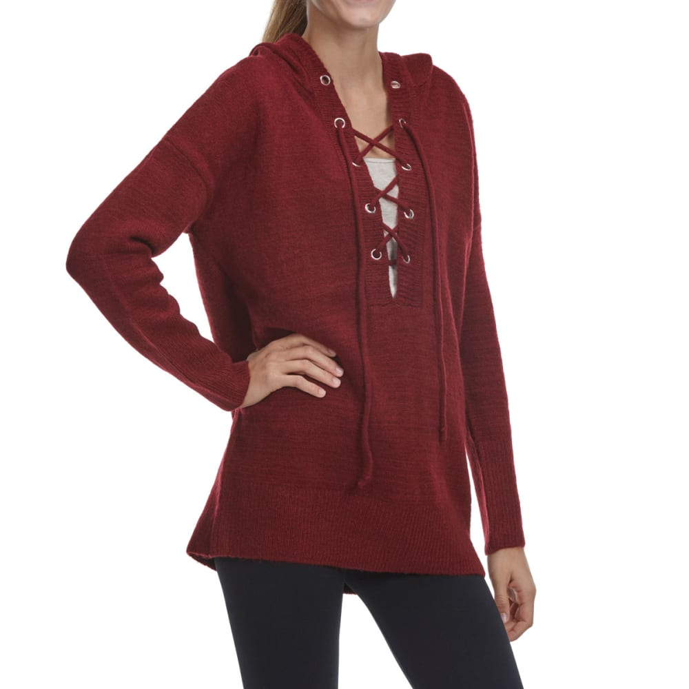 TAYLOR & SAGE Juniors' Lace-Up Pullover Hoodie - RIW-RICH WINE