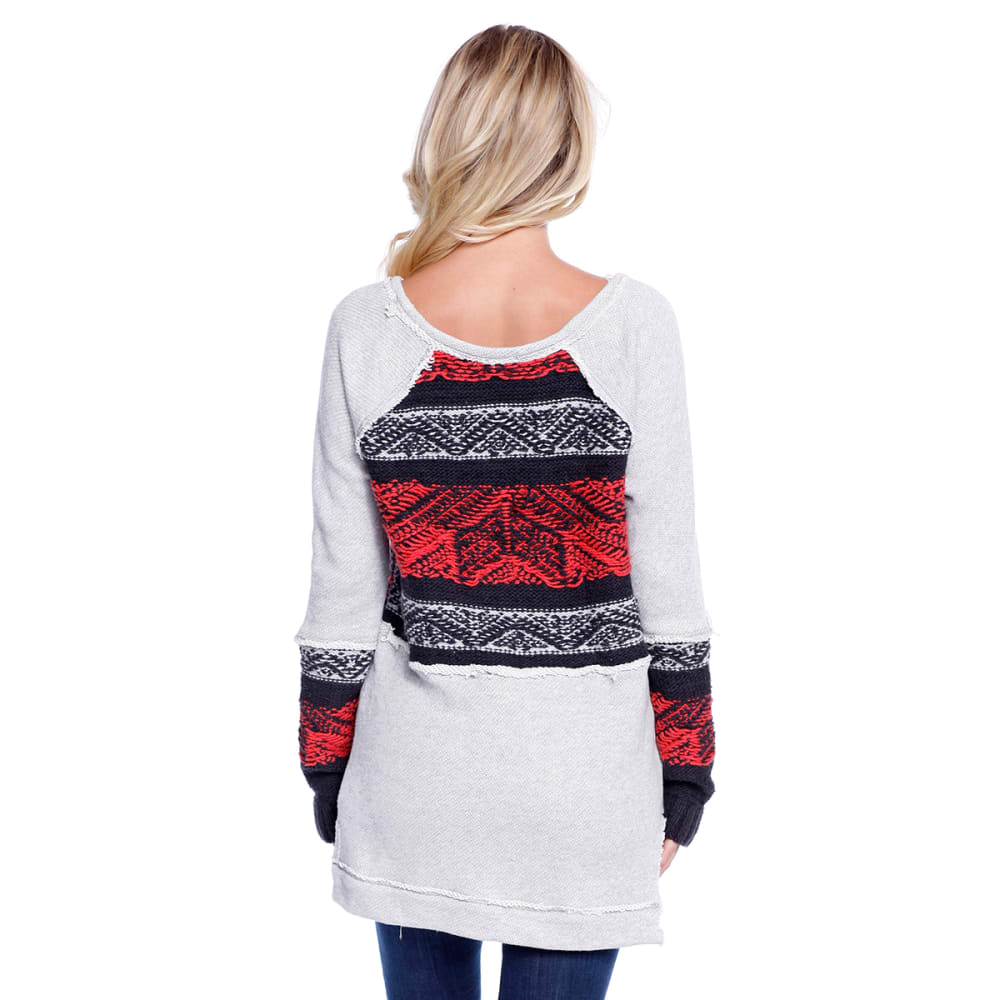 TAYLOR & SAGE Juniors' French Terry Pullover with Sweater Inset - RED-RED