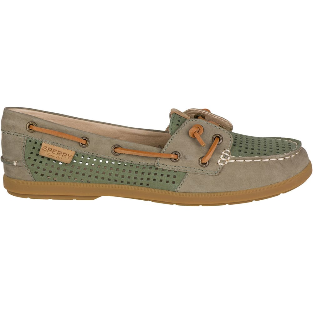 SPERRY Women's Coil Ivy Perforated Boat Shoes, Olive - OLIVE