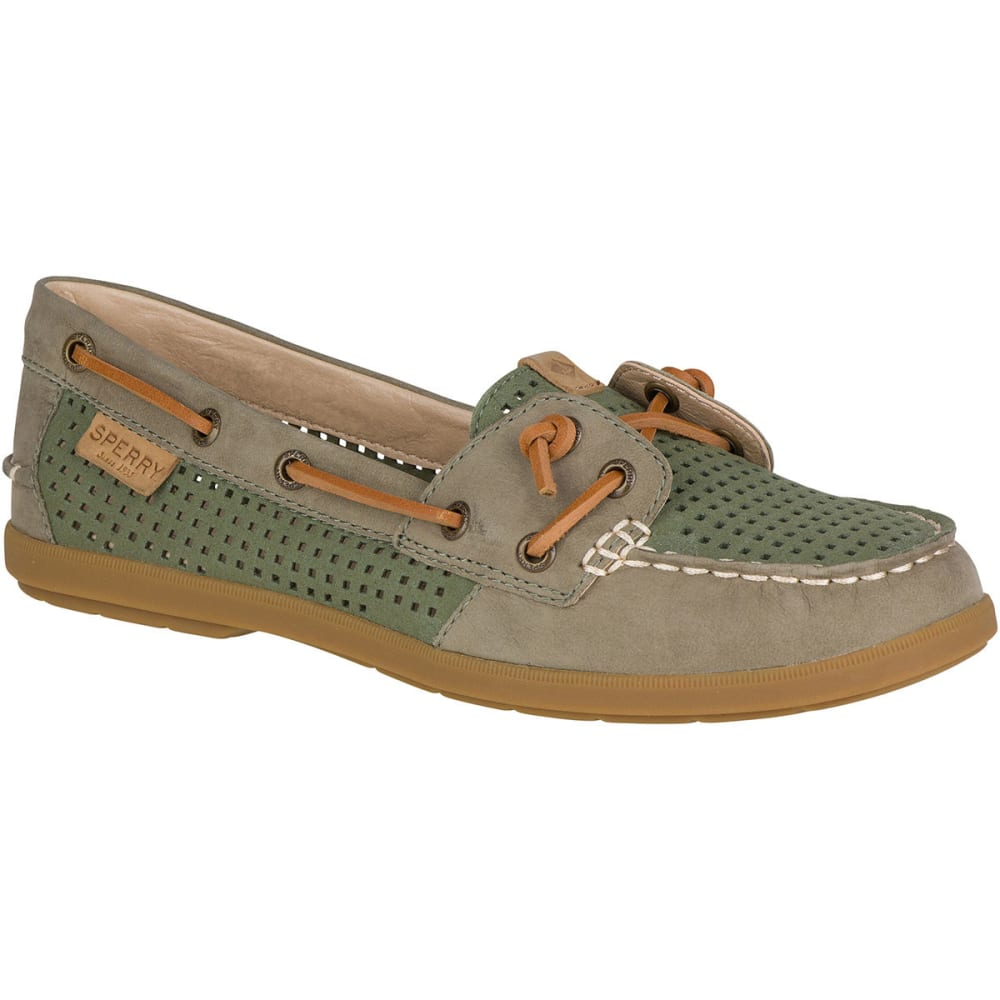 SPERRY Women's Coil Ivy Perforated Boat Shoes, Olive 5