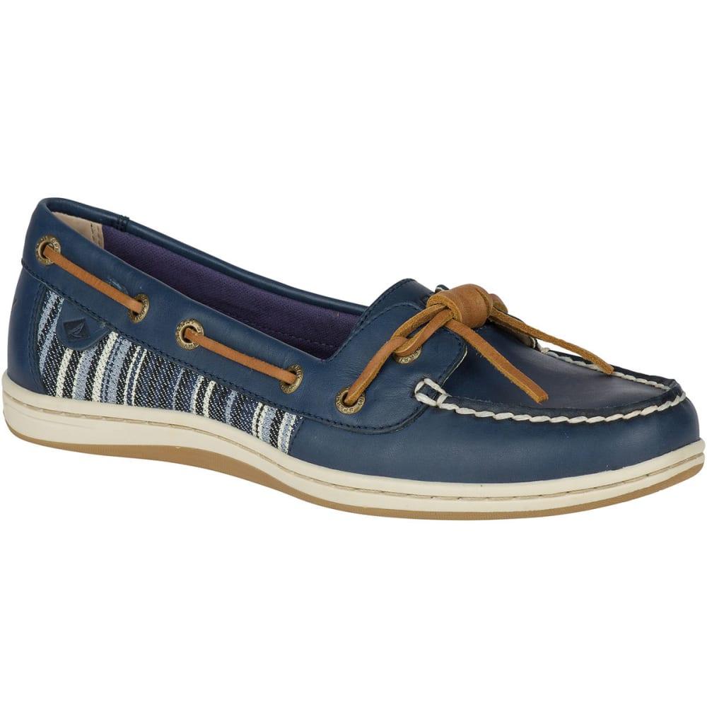 SPERRY Women's Barrelfish Denim Stripe Boat Shoes, Navy - NAVY