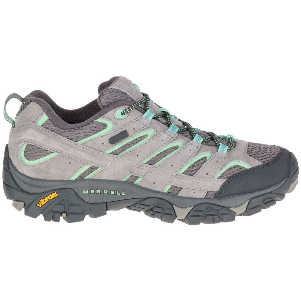 MERRELL Women's Moab 2 Low Waterproof Hiking Shoes, Drizzle/Mint - DRIZZLE/MINT