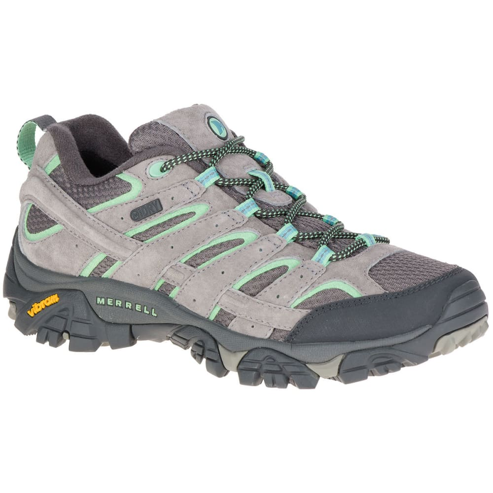 MERRELL Women's Moab 2 Low Waterproof Hiking Boots, Drizzle/Mint - DRIZZLE/MINT
