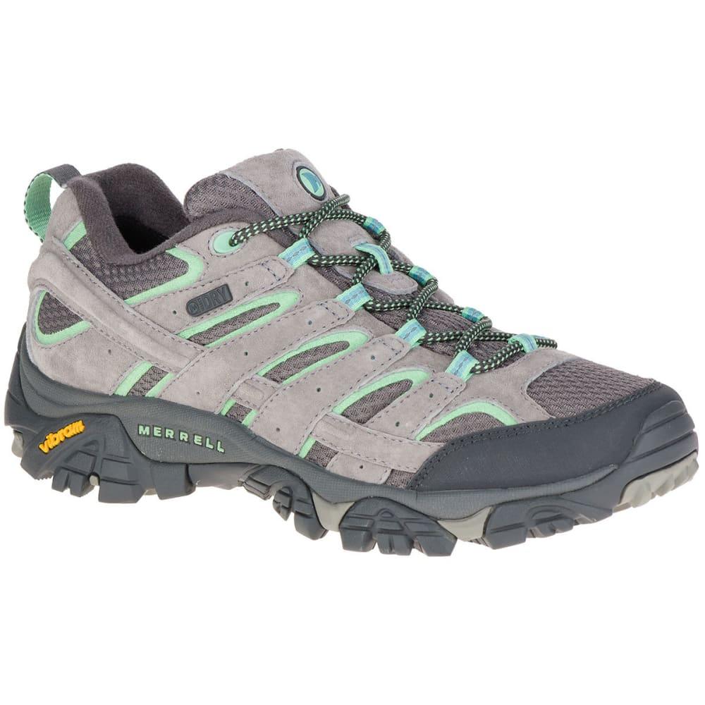 Merrell Women's Moab 2 Low Waterproof Hiking Shoes, Drizzle/mint - Black, 6