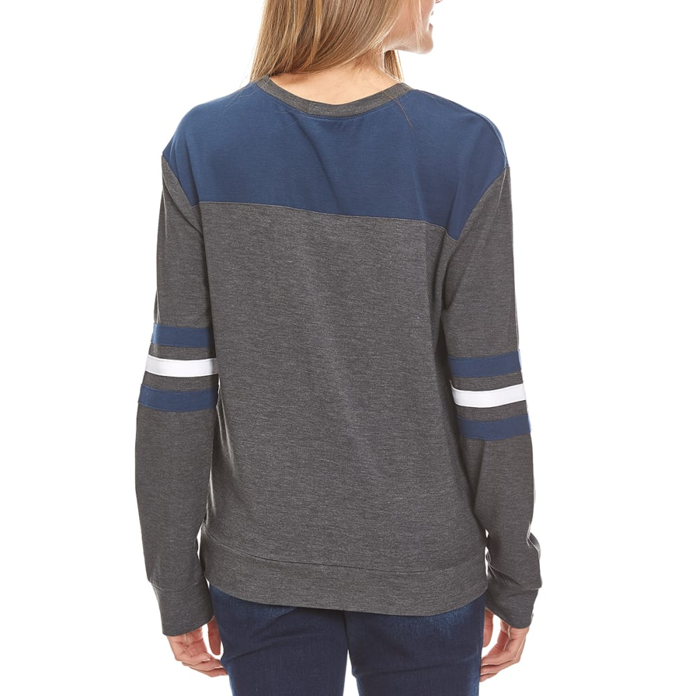 HYBRID Juniors' Rugby Stripe Long-Sleeve Football Pullover - CHARCOAL HTHR/NAVY