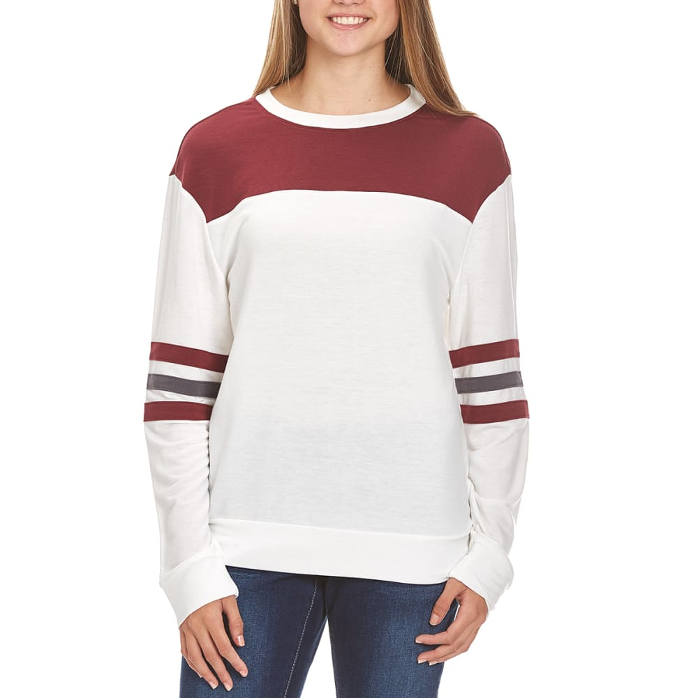 HYBRID Juniors' Rugby Stripe Long-Sleeve Football Pullover - MARSHMALLOW/PORT