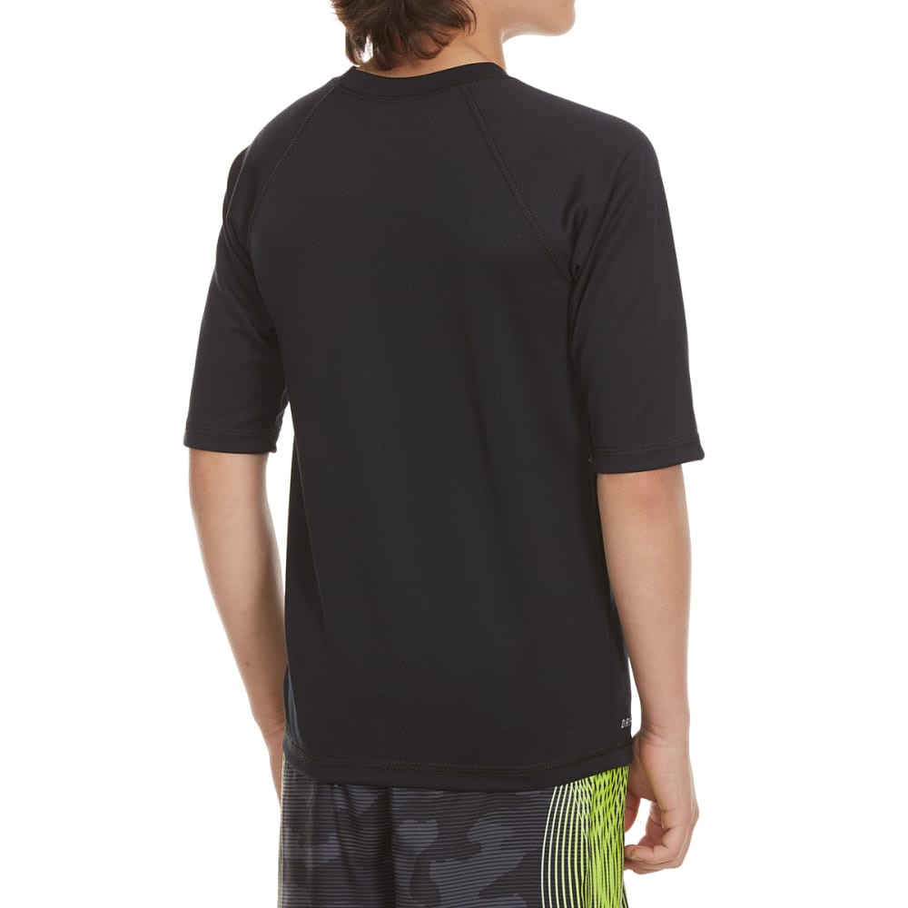 NIKE Boys' Watercamo Short-Sleeve Swim Top - BLACK-001