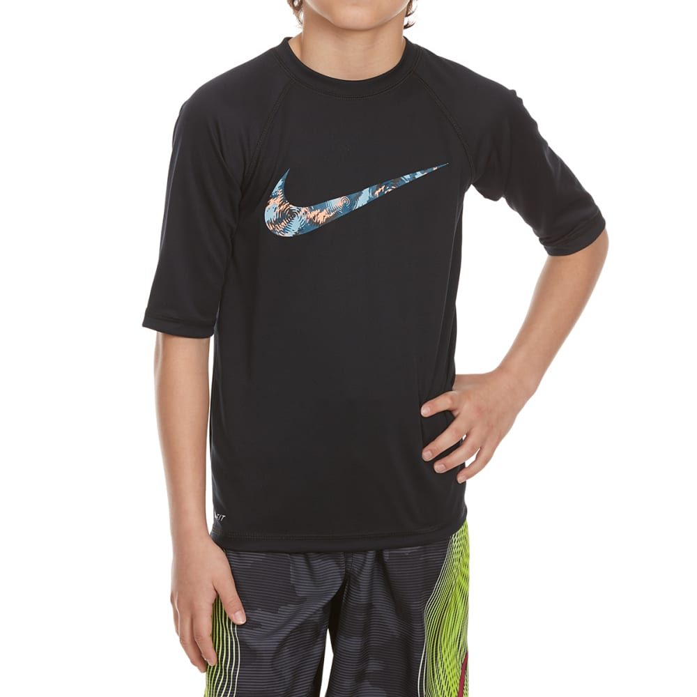 NIKE Boys' Watercamo Short-Sleeve Swim Top - BLACK-001