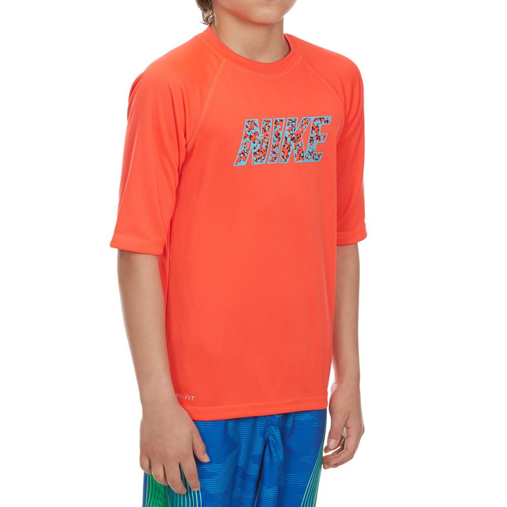 NIKE Boys' Convert Short-Sleeve Swim Top - BRIGHT CRIMSON-631