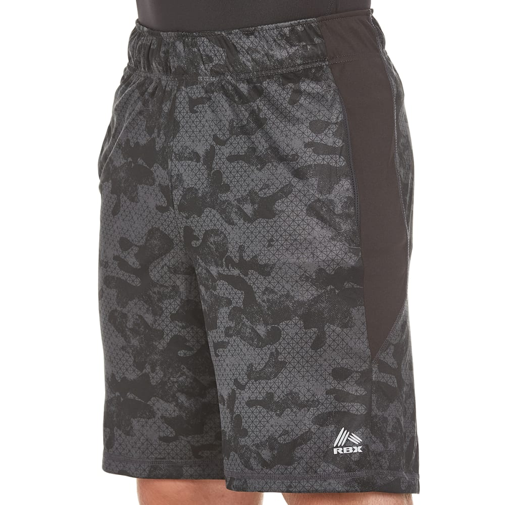 RBX Men's 9 in. Poly Print Training Shorts - BLACK